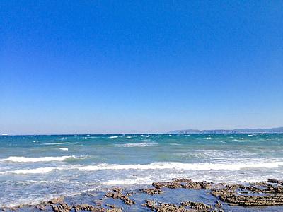 biển, bầu trời xanh, màu xanh biển, rạn san hô, Bãi biển, đá, nhiệt đới