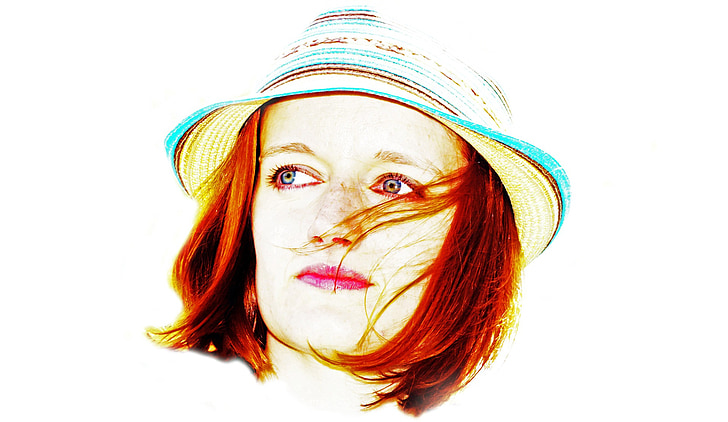 woman, hat, portrait, eye, view, white, hair