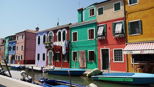 burano, ช่อง, สี, บ้าน