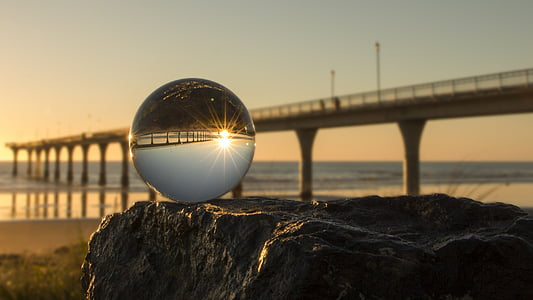 new brighton, crystal ball, sunrise, bridge - man made structure, reflection, water, sunset