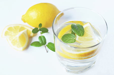 Beverage, boisson, frais, citrons, menthe poivrée, eau
