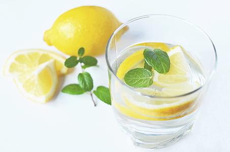 detailné, Foto, plátky, citrón, vedľa, pitie, sklo