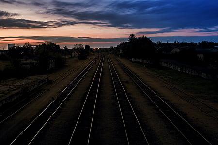 dark, dawn, iron, landscape, lights, outdoors, perspective