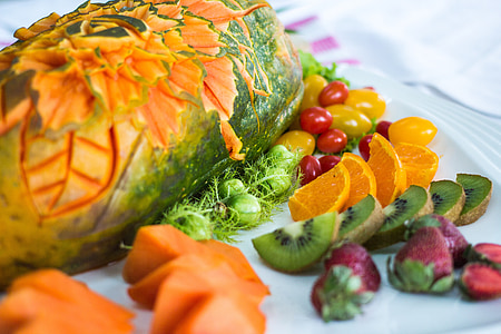 fruit, Papaya, Kiwi 's, voedsel, Oranje, vers, gezonde