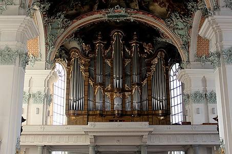 Muzyka, narządów, główne organy, Katedra st Gallen, Kościół Kolegiacki, późnego baroku, St gallen