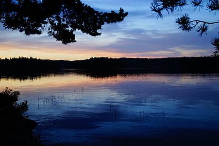 Sunset, Sverige, søen, abendstimmung, aftenhimmel, förjön sø, idyl
