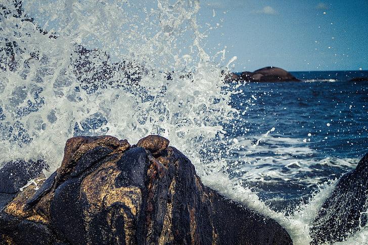 hullámok, Splash, összetörő, rock, víz, óceán, tenger