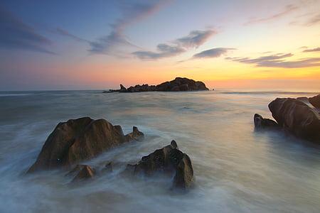platja, Alba, capvespre, nit, horitzó, moviment, natura