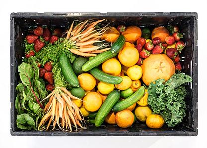 sadje, zelenjavo, polje, zdravo, hrane, jagode, kumare