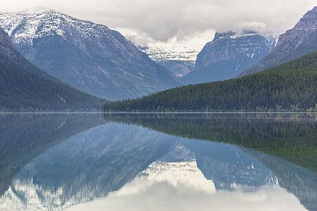 paisatge, reflexió, l'aigua, muntanyes, boira, neu, núvols
