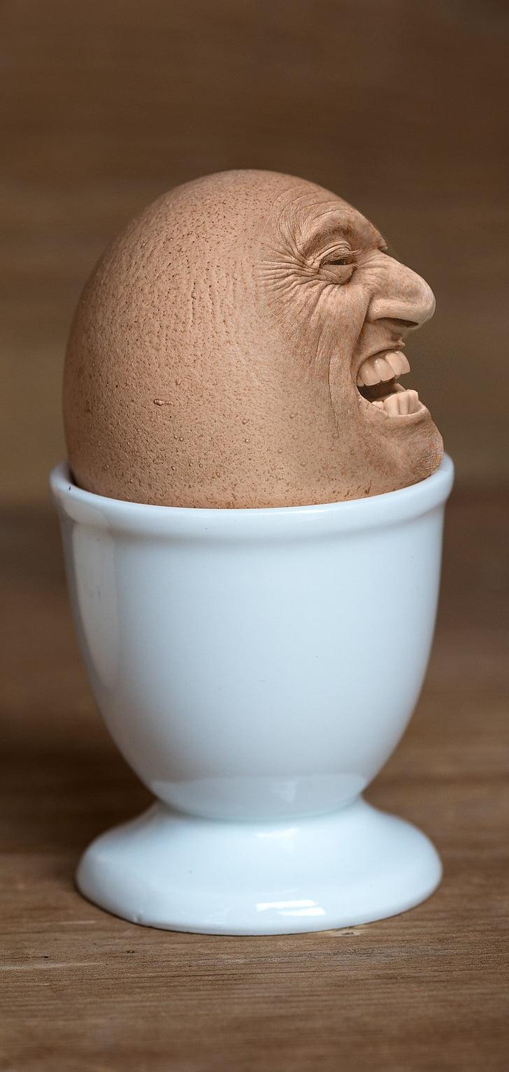 Iman, viso, uovo viso, portauova, fotografia di Food, Assemblea, facendo una faccia