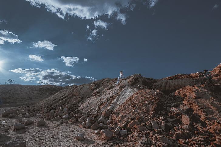 ngọn đồi, người, người, chụp ảnh, đá