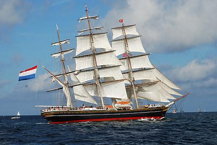 clipper ship, tall, masts, sailing, nautical, stad amsterdam, cruise