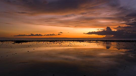 coucher de soleil, plage, aube, horizon, vacances, soirée, voyage
