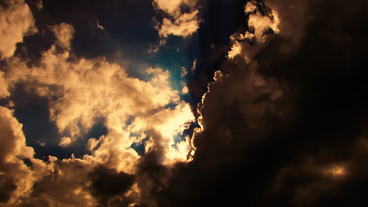 clouds, dramatic, sky, light, sunshine, mystique, nature
