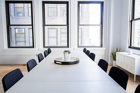 chairs, empty, office, room, table, windows, indoors