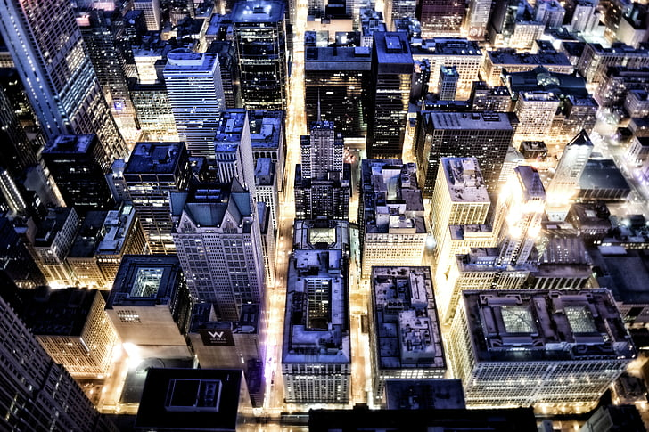 птичи поглед, сгради, град, градски пейзаж, светлини