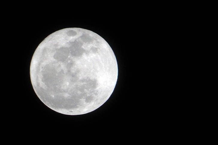 місяць, ніч, повний місяць, астрономія, повний місяць, поверхню місяця, простір