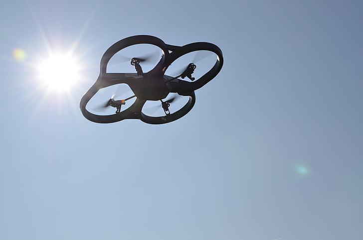 drone, uav, sky, sun