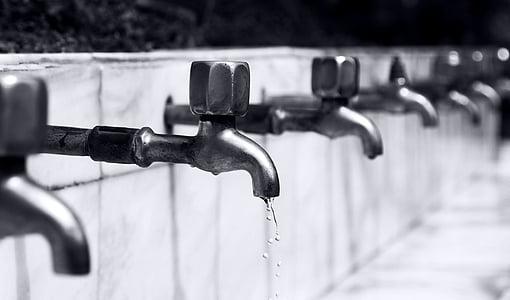 kopalnica, črno-belo, kapljice, Tapnite, pipe, vode, vodnih kapljic