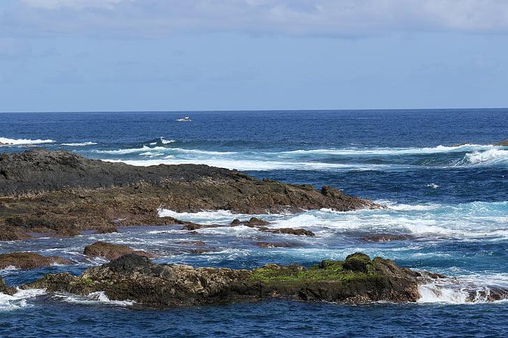 โอเชี่ยน, มหาสมุทรแอตแลนติก, หิน, ชายฝั่ง, คลื่น, สีฟ้า, มหาสมุทรแอตแลนติก