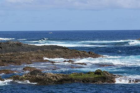 ocean, atlantic, rocks, the coast, the waves, blue, the atlantic ocean