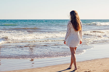 young woman, woman, sea, ocean, white dress, beach, wedding