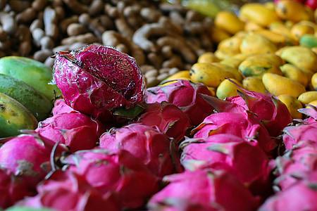 ผลไม้, บาซาร์, ตลาด, ขาย, แก้วมังกร