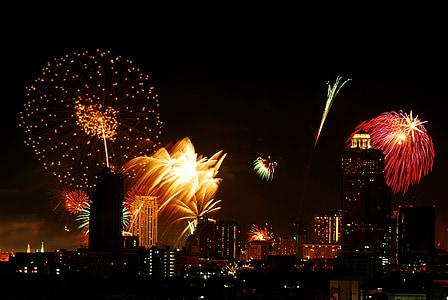focs artificials, Festival, Bangkok, Tailàndia, celebració, festiu