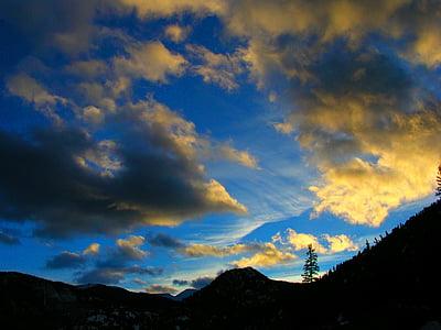 gore, sončni zahod, nebo, oblaki, na prostem, scensko, mirno