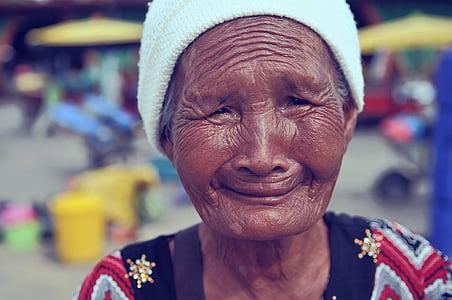 portrait, wrinkles, woman, face, female, old, senior