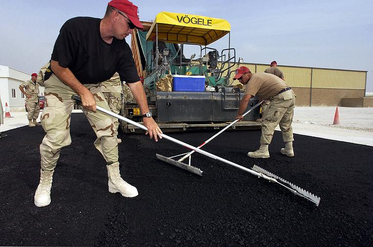 Asfaltti, Road, rakentaminen, työntekijöiden, työ, jalkakäytävä, koneet