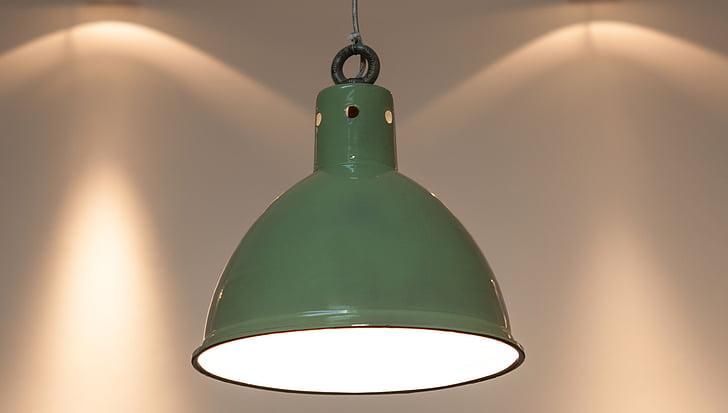 original llum penjant de fàbrica, esmalt, esmalt verd, verema làmpada industrial, Làmpada de fàbrica altell, arquitectura, disseny d'interiors
