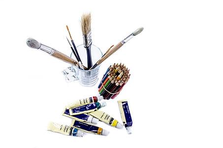 lukisan, sikat, hal-hal, warna, warna, kapal, seni