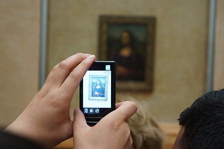 Mona lisa, Fotograafia, moodsa kunsti, käed, kaamera, muuseum, mälestused