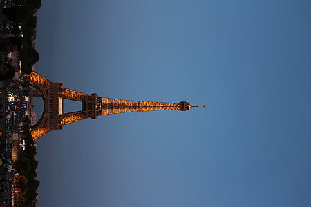 Eiffel, Torre, París, França, Torre Eiffel, a la nit, reflexió