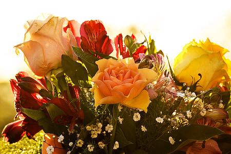 母の日, 花, 花束, ローズ, 黄色の花, 色, 母親