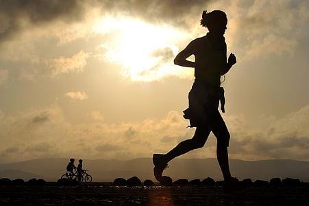 corrent, corredor, llarga distància, gimnàs, femella, país creu, desert de