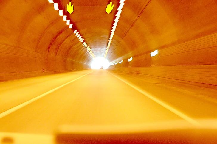túnel, carretera, Gil, velocitat, corrent, l'autopista