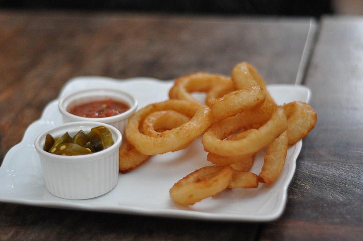 fried, food, onion rings, fast food, fried foods