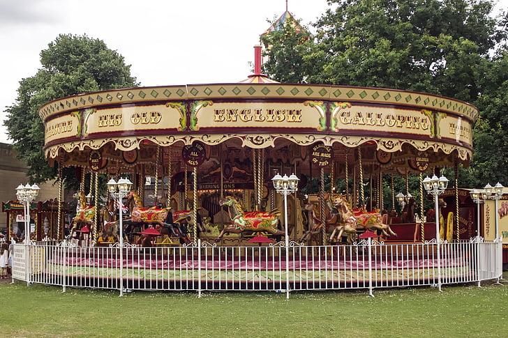 carrusel, cavalls carrusel, cavall de fusta, colors, plaer, oci, York