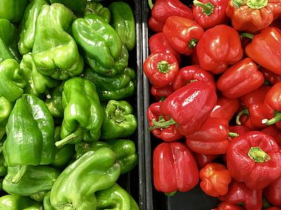 lauksaimniecība, Bell pepper, Capsicum, ēdiena gatavošanai, pārtika, zaļa, augt