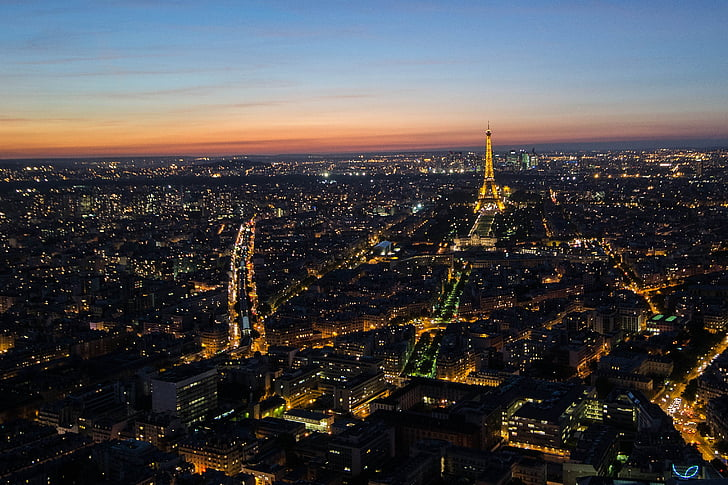 파리, 밤, 프랑스, 조명, abendstimmung