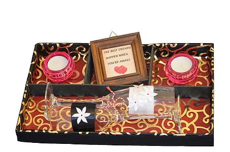 bougie, verre, boîte de, décoration, cadeau, anniversaire, présents