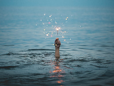 selective, focus, photography, human, hand, holding, sparkler