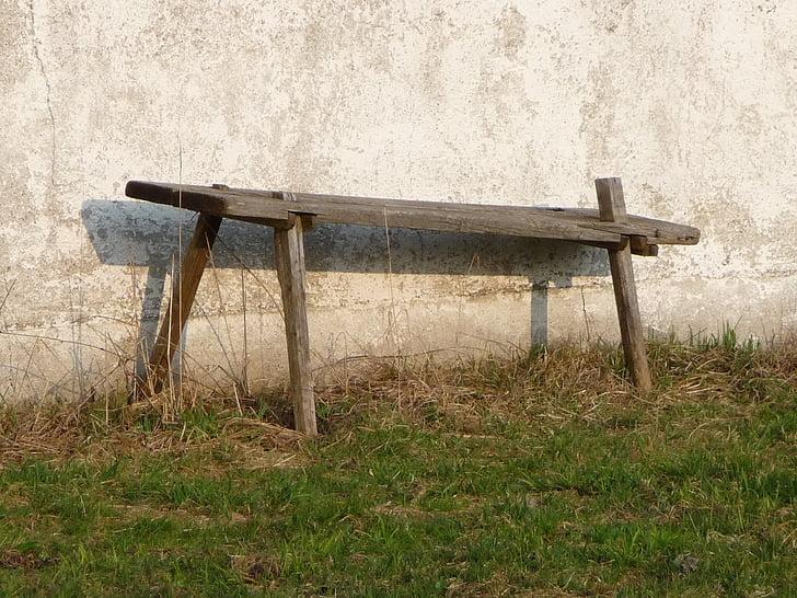 bank, house bank, sit, farm, wooden bench, rest, silent
