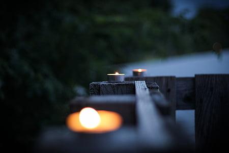 stearinlys, lys, flamme, voks, brand, brænde, varme
