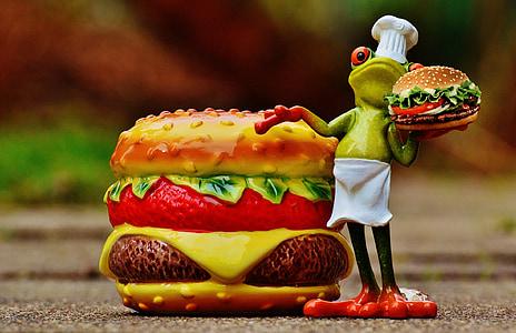 hamburguesa, hamburguesa amb formatge, cuina, granota, divertit, aliments, preparació