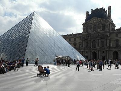 paryż, luwr, Piramida w luwrze, turyści, Pariis, Louvre, Louvre'i püramiid