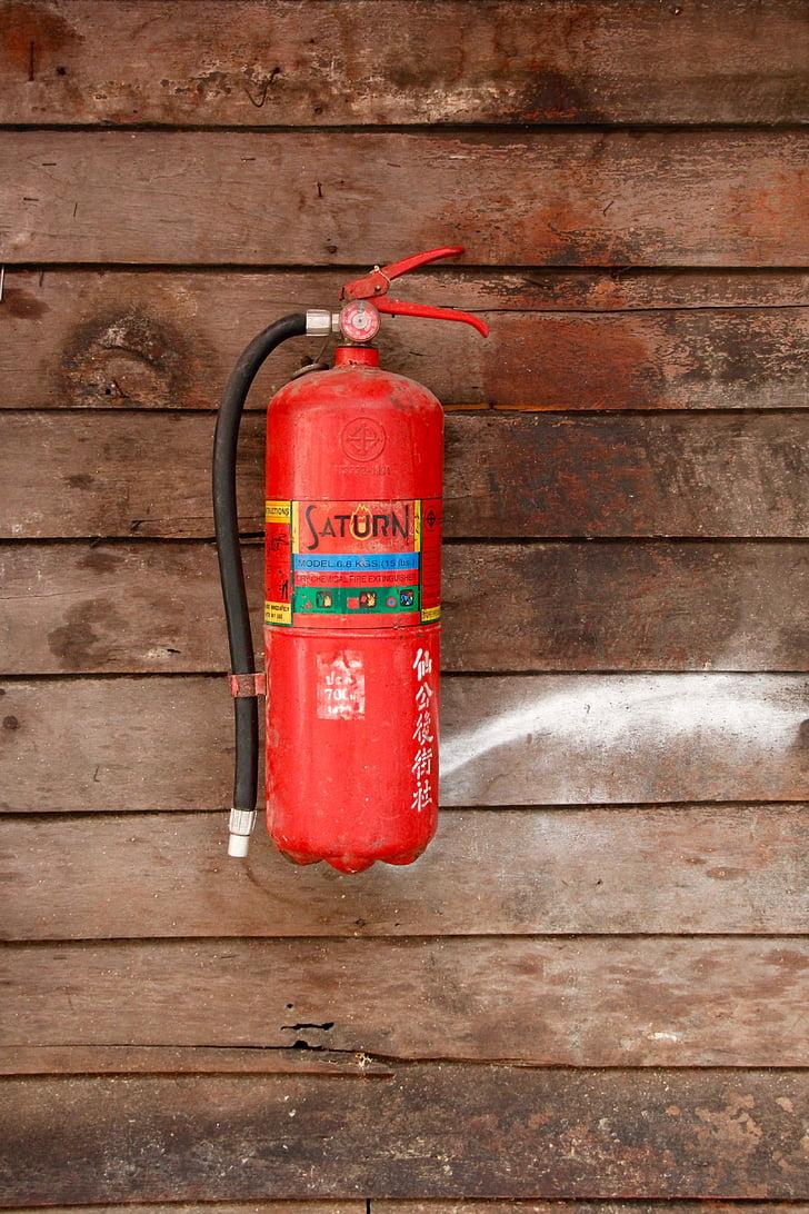 ugunsdzēšamais aparāts, drošības, aizsardzība, ugunsdrošība, sarkana, aerosols